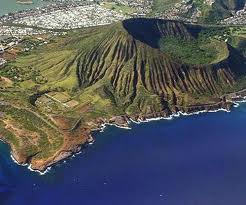 Aerial view of Koko Head Crater.  The botanical garden is in the crater.