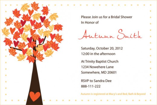 Invitation for a Fall shower.