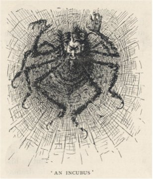 Drawing by George du Maurier which portrays Svengali as being a dangerous spider