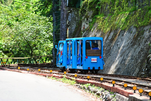 It is a small train which can take visitors to waterfall.