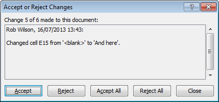 Example of Accepting or Rejecting tracked changes in Excel 2007 and Excel 2010.