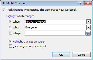 Changing how Excel highlights tracked changes so that reviewed changes are no longer highlighted in Excel 2007 and Excel 2010.