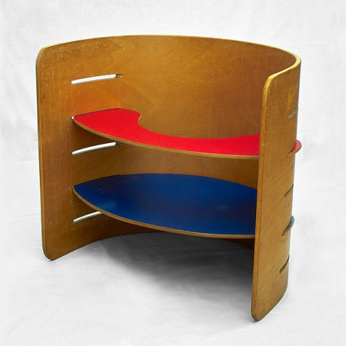 1950s laminated beech children's bookshelf by Danish designer Kristian Solmer Vedel
