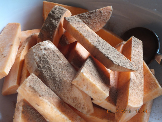 Sprinkle with a 1/2 tablespoon of cinnamon. You can use more or less depending on many sweet potatos you use.