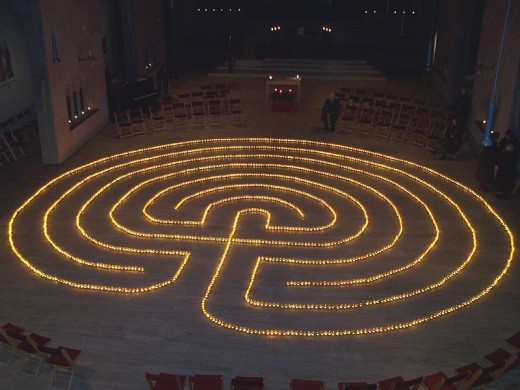 Tea light labyrinth at Holy Cross Church in Frankfurt