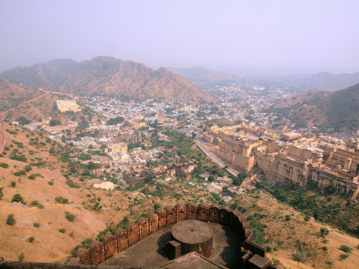 Panoramic view of Jaipur City, Amber Fort and Aravalli Hill from Jaigarh Fort
