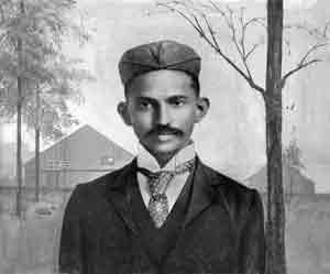 Gandhi shortly after arriving in South-Africa, in 1895.