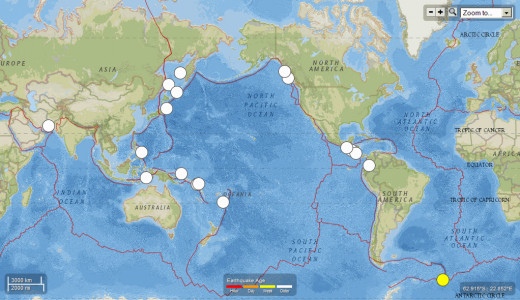 19 worldwide earthquakes of 7.1 magnitude or larger for the 7/16/12 to 7/15/13 period.