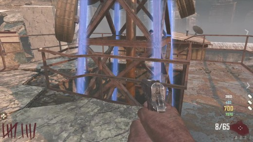 The corners of the Tower glow blue when completing the Richtofen side.