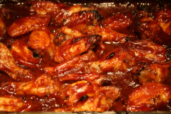Baked barbecue chicken wings ~ with store bought honey barbecue sauce