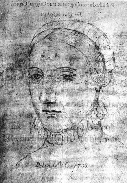 A drawing that might be Anne Hathaway, wife of William Shakespeare, however, it has never been verified.