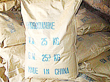 A sack of hydroquinone powder