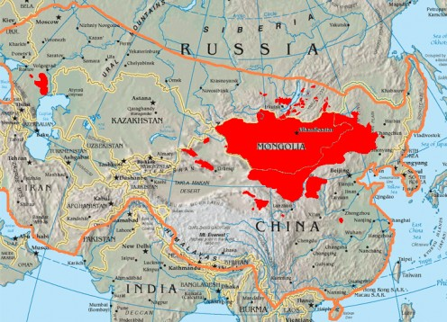 The orange line shows the extent of the Mongol Empire while the red areas show existing, ethinic Mongol regions.