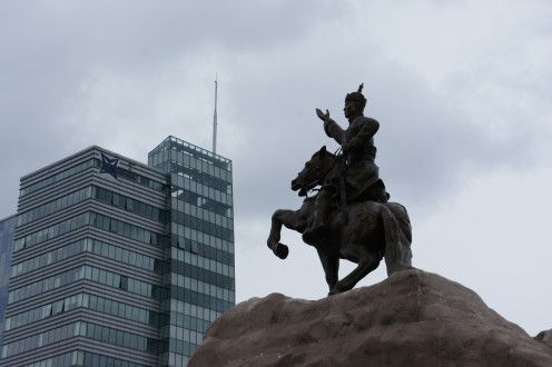 Statue of Ghenghis Khan in Sukbaatar Square in central Ulaan Baatar.
