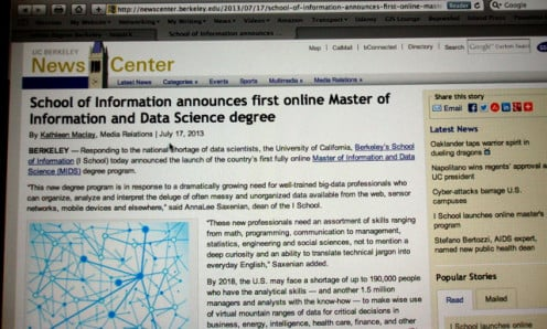 New online masters degree announced by University of California, Berkeley.