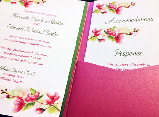 Cherry Blossom Pocketfold Wedding Invitation  -- (c) 2013 Paint the Day -- All Rights Reserved -- Do Not Distribute --