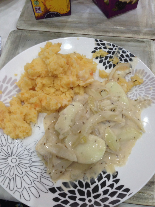 Pork Chops in Creamy Cider Sauce finished dish