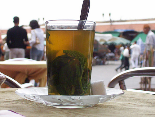 A green tea on the terraces of the Djemaa el Fnaa, Marrakesh while watching the world go by