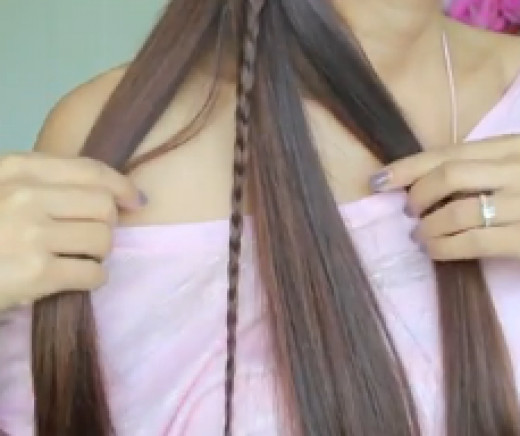 The position of the braid should look like the picture above. Notice that the braid is positioned as the second strand. The position of the braid is important!