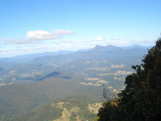 The View to the South East From the Lookout: the Pointed Peak is Mount Warning
