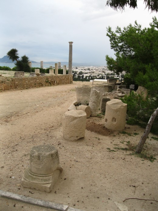 Roman ruins on Byrsa Hill in Carthage, Tunisia