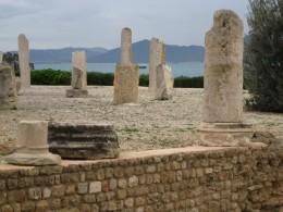 Roman Ruins on Byrsa Hill overlooking Mediterranean Sea in Carthage, Tunisia