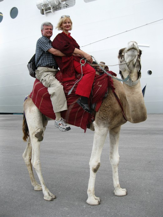 Riding a camel on the dock at La Goulette, Tunisia