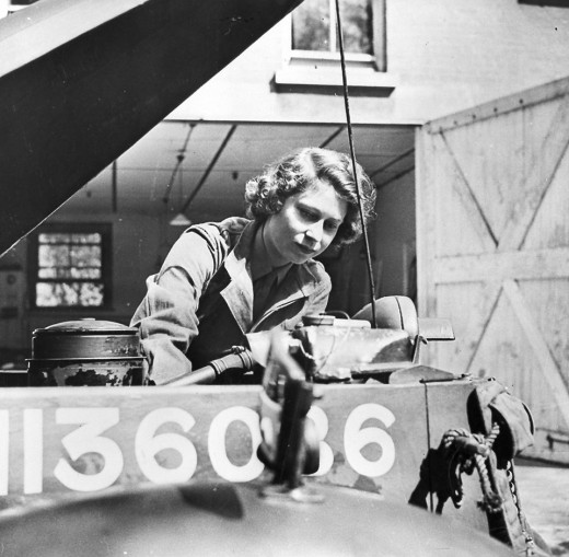 Her Majesty as Princess Elizabeth during WW2 working on a truck engine