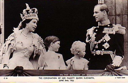 Coronation day with Prince Phillip, Prince Charles and Princess Anne 1952