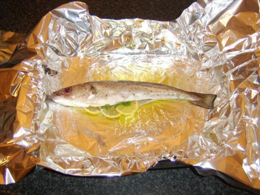Preparing a whiting for baking