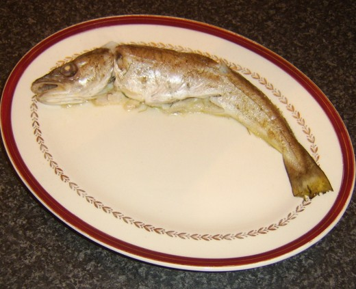 Baked whole whiting
