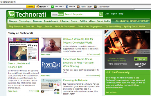 "Technorati Home Page, notice the Join the Community "" Information in the bottom right green box."