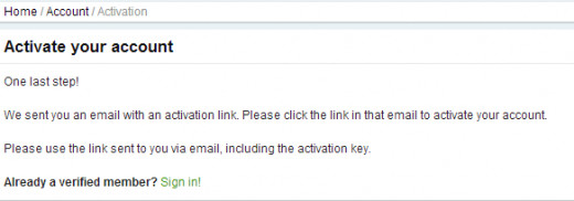 Activate account with email confirmation