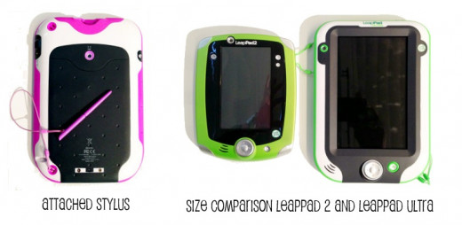 Attached Stylus on LeapPad Ultra, and Size Comparison with LeapPad2
