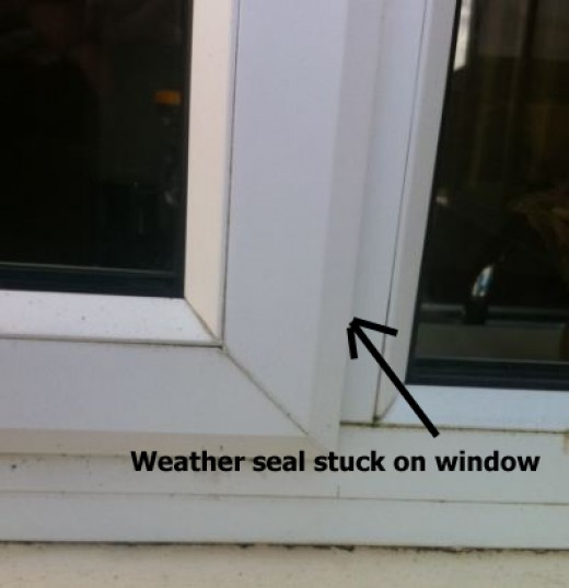 Pvc window showing weather seal