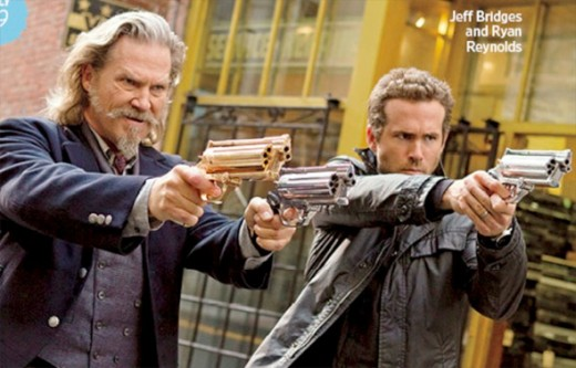 Jeff Bridges is Roy, an old west law man and Ryan Reynolds is Nick, a Boston cop.  Together they stop undead creatures from overrunning the Earth in R.I.P.D.