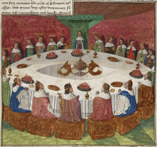 An artist's portrayal of the knights of the round table seeing a vision of the holy grail