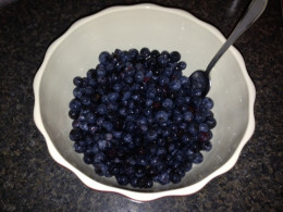 The blueberries and other ingredients are thoroughly mixed.  Notice they are somewhat mushed from the mixing.