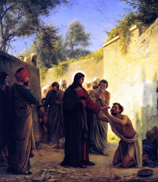 "Faithful reproduction of the painting ""Healing of the Blind Man"" (1871); Carl Bloch. Bible references: Mark 8:22-25, Luke 9:1-12."