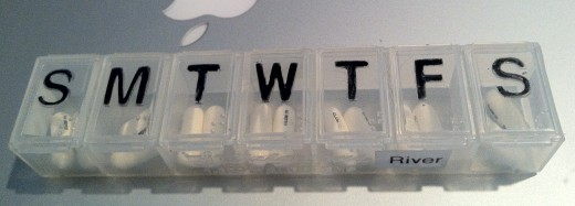 7-day Pill Container with Pills Set-Aside to Cover the Reordering Time Period.