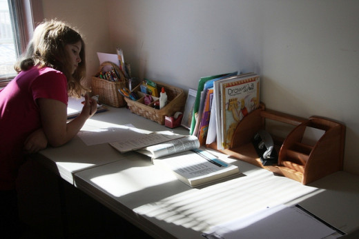 Schooling can take place anywhere in the home but it's nice for students to have their own little nook to study.