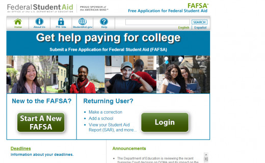 FAFSA Home Page! You'll need your parents' help!
