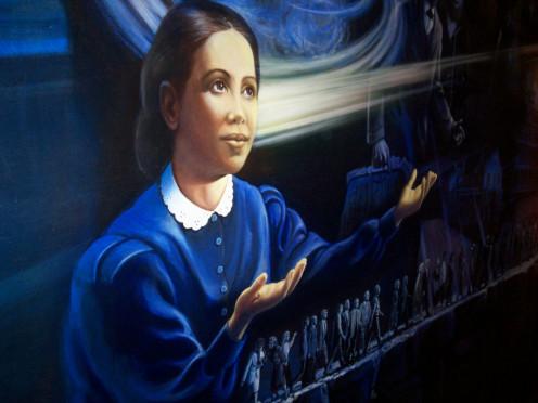 Detail of Ellen White from wall mural inside the Ellen G. White Estate, Washington, D.C.