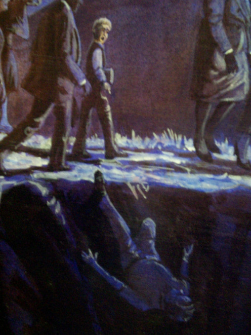 "If you question ""present truth"" as an SDA, you risk falling off the path to heaven, according to EG White's first vision, which is the subject of a mural at the EGW Estate. This detail from that painting depicts the fate of me, and all former SDAs."