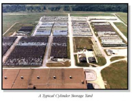 As depleted uranium is around 200 times more plentiful than bomb or reactor grade uranium, massive storage yards like this are common. Do the math!