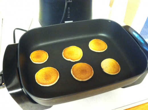 Several small pancakes make easy meals for small hands.