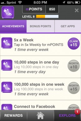 mPoint screen on the Runtastic Pedometer app