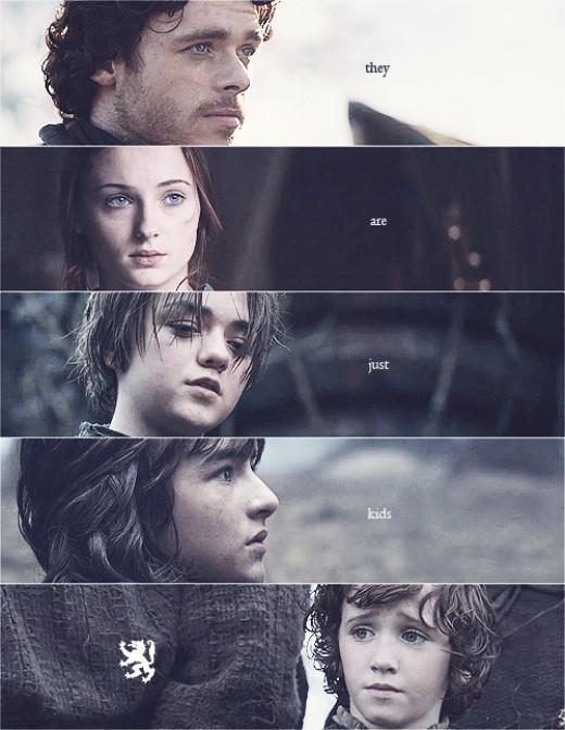 Robb, Sansa, Arya, Bran and Rickon (from top to bottom)