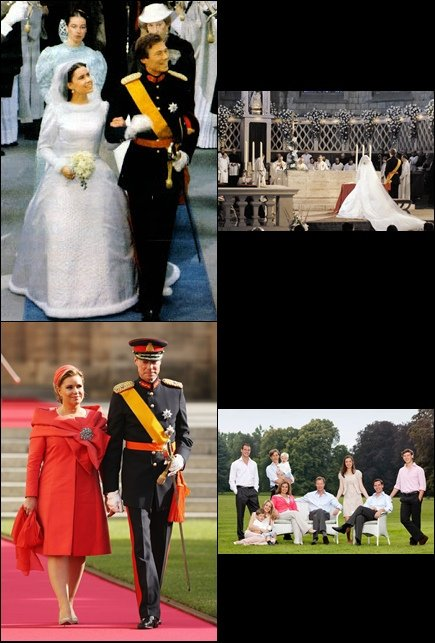 Upper photo: royal wedding; lower: royal couple of Luxemburg and their family