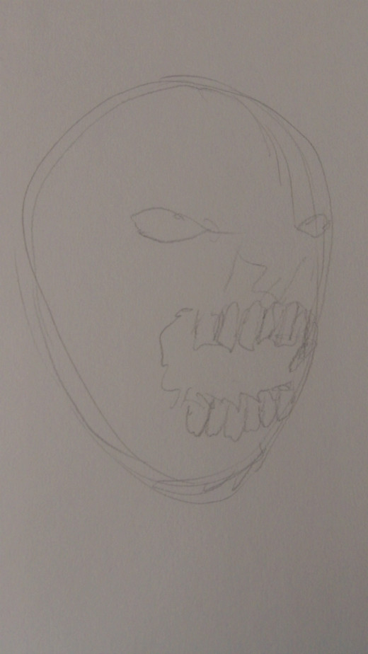 Start to sketch in the Zombies features on the side like so